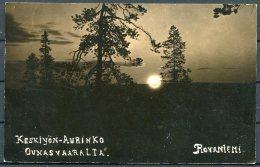 Finland Rovaniemi Rising Sun Postcard. Keskiyon Aurinko Ounasvaaralta - Germany - Finland