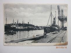 Postcard Freie Stadt Danzig Wolne Miasto Gdansk Germany Poland Steam Ships In Port / Dock & Stamp My Ref B1995 - Poland