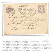 Nederland 1876 Briefkaart Nr. 8a 2,5 Ct. Cijfer Met Naamstempel Vinkeveen En Bestellerstempel Op Zegel ! - Period 1852-1890 (Willem III)