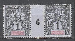 Madagascar: Yvert N°28; Millésime 6; Adhérences - Madagascar (1889-1960)