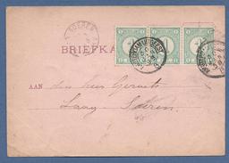 Nederland 1898 Briefkaart Velzen Met Strip V. Drie Nr.31 Cijfer En Kleinrond Amsterdam-Uitgeest - Period 1852-1890 (Willem III)