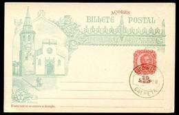 AZORES Postal Card #26 VASCO DA GAMA Church Sao Joao Baptista Tomar Postmark Calheta 1898 - Azores