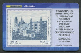 ITALIA TESSERA FILATELICA 2008 - UNESCO CENTRO STORICO DI URBINO - 282 - 6. 1946-.. Republic