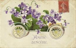 """Carte Gauffrée """"Amitié Sincère"""" Avec Voitures Et Fleurs                           -- K Fsérie 3183 - Autres"""