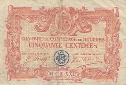Billet 50 Centimes 50 C Chambre De Commerce De Bourges 1922 Lettre J - Chambre De Commerce