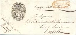 """Regno Delle Due Sicilie 1858-59 Sovracoperta Da Capua Per Caserta Con Ms """"Servizio Delle Prigioni"""" E Bollo Postale Rosso - Police - Gendarmerie"""