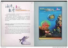 Folder Taiwan 2005 Ocean Life S/s Coral Reef Fish Oval Ocean Marine Rock Fauna