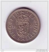 Angleterre, Great Britain, 1955, 1 Shilling, Lion, - 1902-1971 : Monedas Post-Victorianas