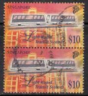 $10 Pair Used Singapore 1997,  Transport Series, Light Rapid Transport System, Train Carriage - Singapore (1959-...)