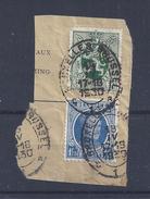 N°257+283 (ntz) GESTEMPELD OP FRAGMENT OVAAL Bruxelles - Brussel 1 - 1922-1927 Houyoux