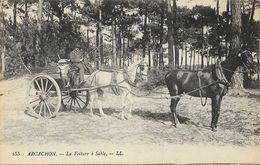 Arcachon - La Voiture à Sable (Hippomobile, 2 Chevaux) - Excursions En Forêt - Carte LL N° 155 Non Circulée - Cartes Postales