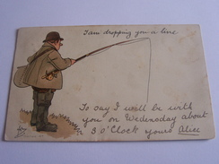 HUMOUR PECHE A LA LIGNE  PECHEUR CPA 1902 SERIE 4E - Humour