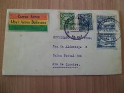 Lettre LLoyd Aero Boliviano 1ere Liaison Aérienne La Paz 30/7/1930 Rio 01/8/1930 N° 161;162 Paire PA 8 Cachets B/TB - Bolivie