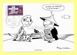 CPM - 9 Dec. 1994 : CHINE Quand La FRANCE S Eveillera - Illust. P. Delestre ( Timbre Presse Ma LIBERTE ) - Humour
