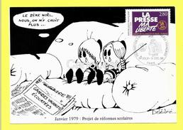 CPM - 9 Dec. 1994 : Projet Reformes Scolaires - Illust. P. Delestre ( Timbre Presse Ma LIBERTE ) - Humour