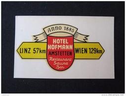 HOTEL MAP GASTHOF HOFMANN AMSTETTEN WIEN VIENNA VIENA AUSTRIA OSTERREICH DECAL STICKER LUGGAGE LABEL ETIQUETTE AUFKLEBER