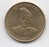Zaïre : 5 Zaires 1987 (Diamètre 24 Mm) - Zaire (1971 -97)