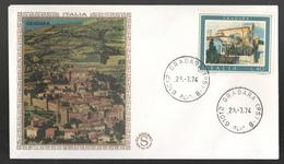 FDC Italia 1974 Gradara Filagrano Gold Da 40 Lire - FDC