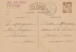 CALVISSON  - 1941 , Carte Interzone  -  Iris - 1939-44 Iris