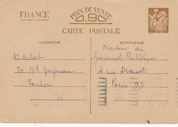 TOULON  - 1940 , Carte Interzone  -  Iris - 1939-44 Iris