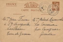 LAVILLEDIEU  - 1941 , Carte Interzone  -  Iris - 1939-44 Iris