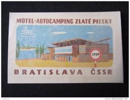 HOTEL CAMPING AUTO ZLATE PIESKY BRATISLAVA CSSR CSR SLOVAKIA JUGOSLAVIA LUGGAGE LABEL ETIQUETTE AUFKLEBER DECAL STICKER