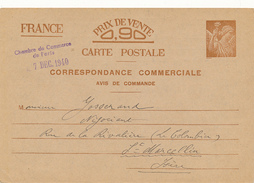 PARIS - 1940 , Carte Interzone   -  Correspondance Commerciale  -  Iris - 1939-44 Iris