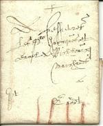 Vouwbrief Van 8 Januari 1637 Van Oudenaarde Naar Gent Met Port In Romeinse Cijfers IIII - 1621-1713 (Spaanse Nederlanden)