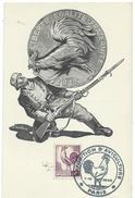 FRANCE Thème COQ Carte Souvenir Exposition D'aviculture PARIS 1945 Avec Obl Illustrée Sur 631 - Francia