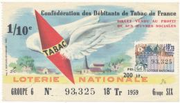 LOTERIE NATIONALE - Débitants De Tabac 1959 - Billetes De Lotería
