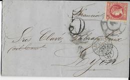 ESPAGNE - 1861 - 12 Cu. SEUL Sur LETTRE De MADRID Avec TAXE De 5c => LYON Avec ENTREE Par ST JEAN DE LUZ