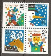 USA. Scott # 2795-98 MNH Block Of 4 From Booklet. Christmas (1993) - Navidad