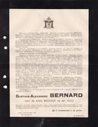 LILLE Gustave BERNARD Veuf D'Adèle MESDACH De Ter KIELE 1890 83 Ans Faire-part Mortuaire CREPY GOSSELIN - Avvisi Di Necrologio