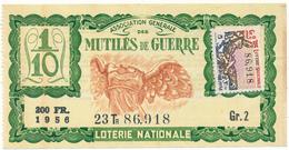 LOTERIE NATIONALE - Mutilés De Guerre, 1956 - Billetes De Lotería