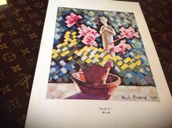Dessin Paul Ricard 1968  Pots  Sur Carton - Steendruk