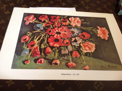 Dessin Paul Ricard 1968  Fleurs 🌺  Sur Carton - Steendruk