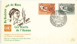 Belgium FDC 24-11-1962 Human Rights Complete Set Of 2 With Cachet (4 Hinged Marks On The Backside Of The Cover) - FDC