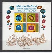 1976 Sri Lanka Gemstones Ruby Sapphire Jewelry Minerals Miniature Sheet Of 4  MNH - Minerali