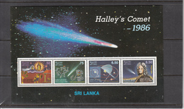 1986 Sri Lanka Astronomy Halley's Comet Miniature Sheet Of 4  MNH