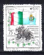 Italia   -  2014. Istrice Con Bandiere Italiana E San Marino. Hedgehog With Italian Flags And San Marino - Rodents