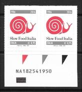 2016 - 30° Slow Food Italia - COPPIA Con  Codice AlfaNumerico = + RARO - Serie Completa - 6. 1946-.. Repubblica