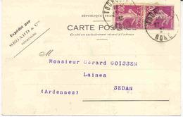 Carte Avec 20c Semeuse Perforés S&C - Segard & Compagnie - Perfins