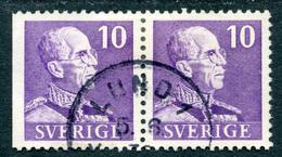 "SWEDEN 1939 GUSTAV V 4+3 Sided Pair, Small ""10"" Stamp Fine Used - Sweden"