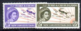 R867 - TURKS CAICOS 1959 , Serie 177/178 Gomma Integra  ***  MNH COSTITUZIONE - Turks E Caicos
