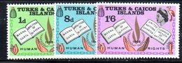 R903 - TURKS CAICOS 1967 , Serie 216/218 Gomma Integra  ***  MNH  DIRITTI UOMO - Turks E Caicos