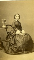 France Nantes Jeune Dame Elegante Mode Second Empire Ancienne Photo CDV Wolter 1860