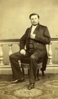 France Nantes Homme Assis Mode Second Empire Ancienne Photo CDV Bazelais 1860