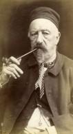 Belgique Vieil Homme Fumeur De Pipe Ancienne Photo Albumine 1880