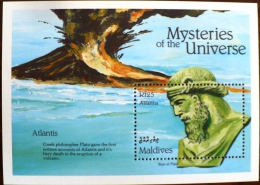 MALDIVES. VOLCANS, VOLCAN, GEOLOGIE, Mysteries Of The Universe, Atlantis. Feuillet . MNH  ** Neuf Sans Charniere - Volcans