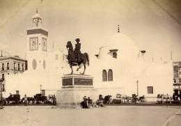 Algerie Alger Mosquee Jamaa Al-Jdid Statue équestre Duc D'Orléans Ancienne Photo 1880'